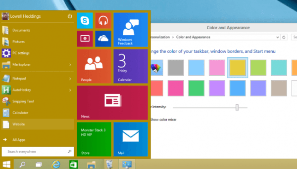 color and appearance dialog