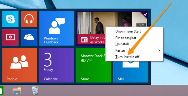 turning live tiles off