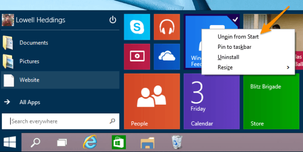 unpinning start menu