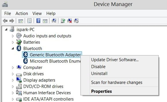 bluetooth adapter device manager