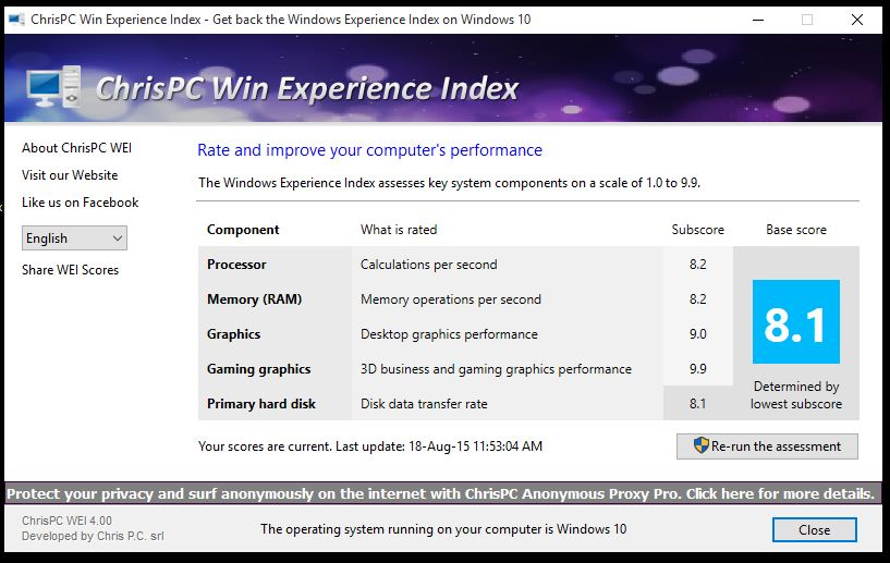 Chrispc win experience index 4. 80 free download software reviews.