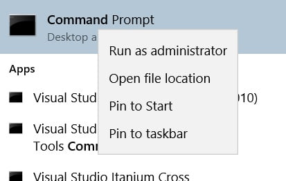 open command prompt as administrator
