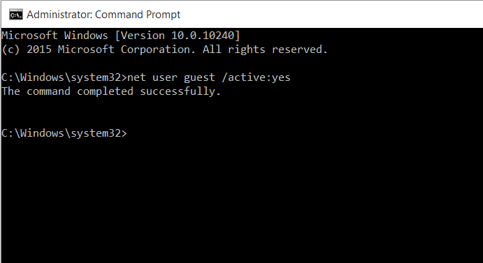 Guest Account Enable Windows 10 CMD