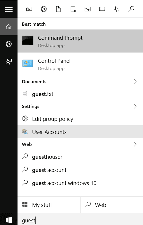 Guest Account Setup Windows 10