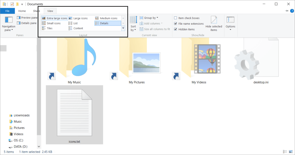 Icon size file explorer