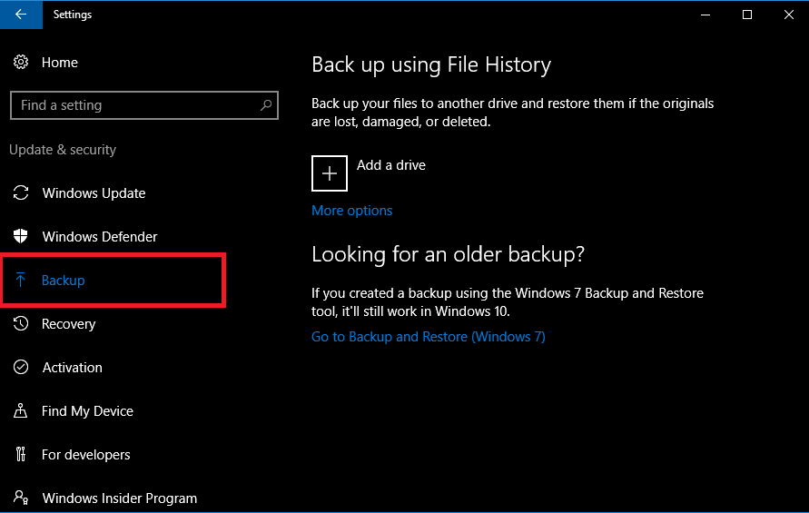 backup using file history