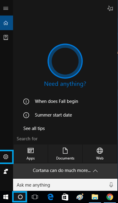 launch cortana app