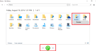 restore backup created by file history