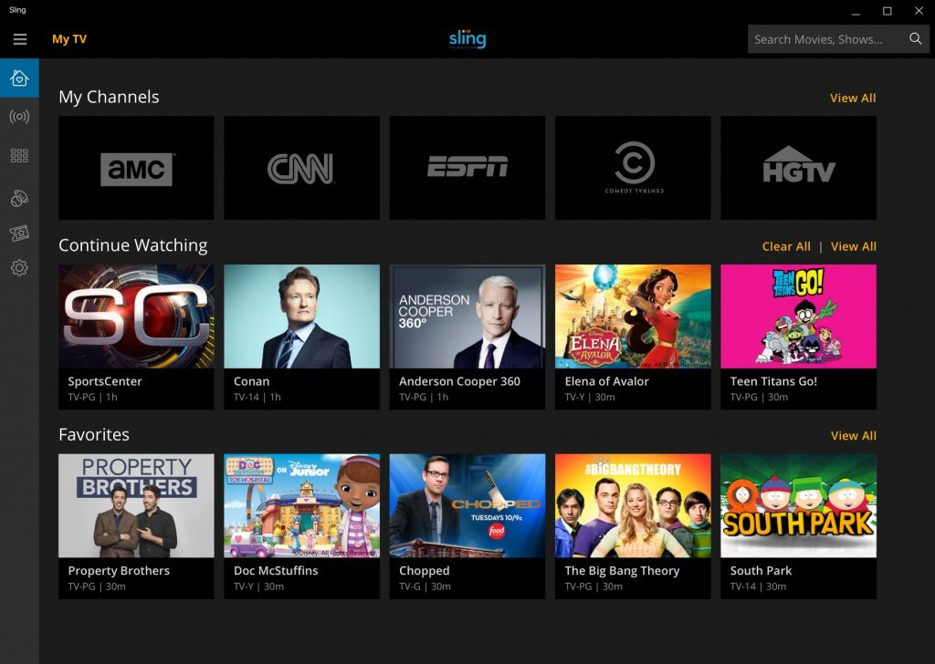 Sling TV Windows 10 App