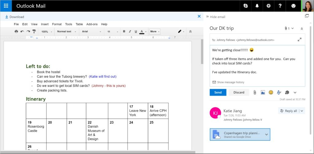 Microsoft Outlook Mail Web with Google Docs integration