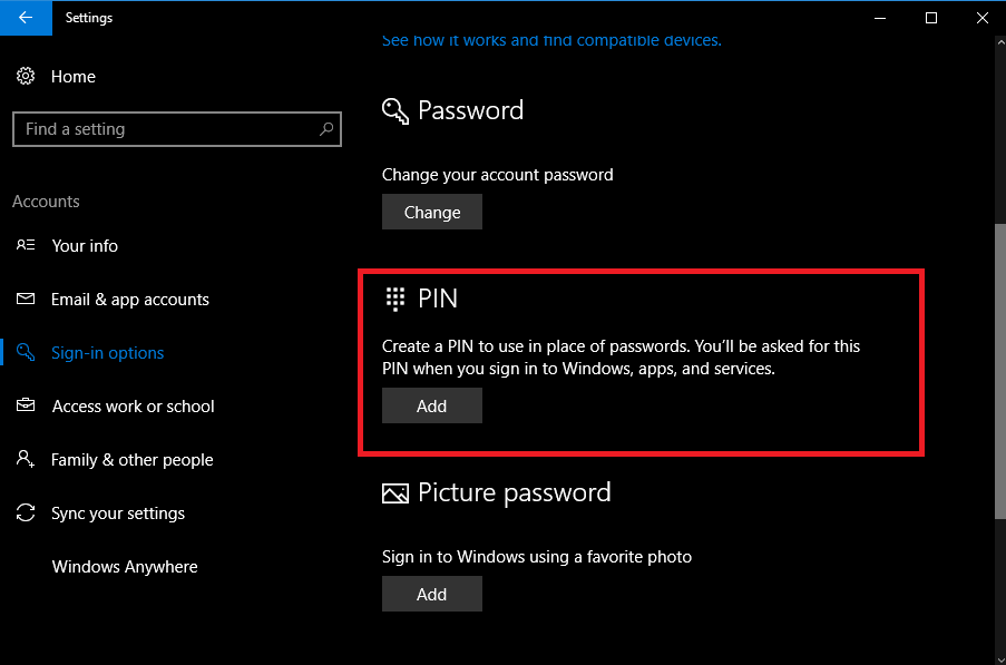 how to change windows 10 sign in pin