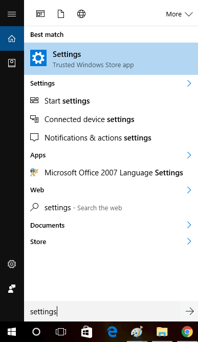 fix  settings icon is missing in start menu in windows 10