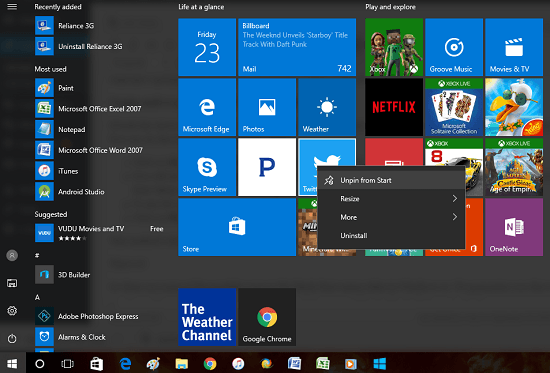 unpin-tile-from-windows-10