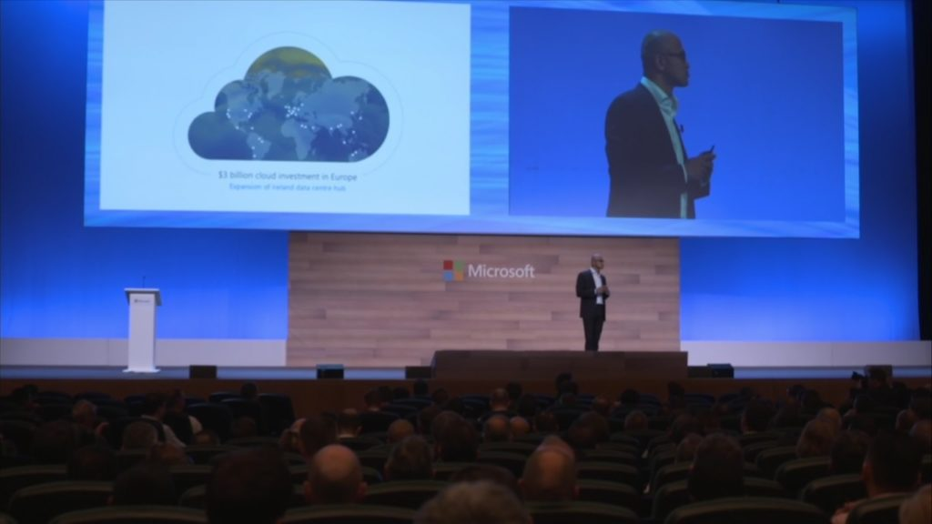Microsoft's Satya Nadella on stage