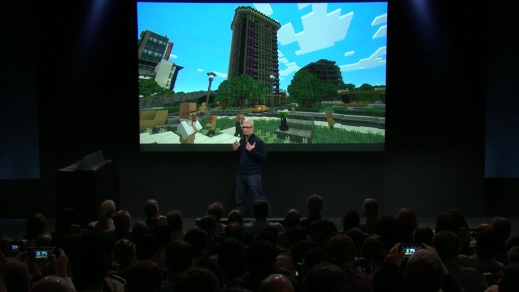 Minecraft at the Apple Macbook event