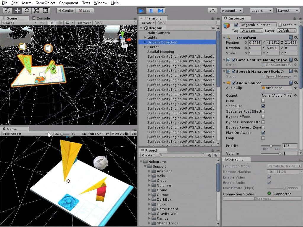 Unity game engine adds support for Windows Holographic, and