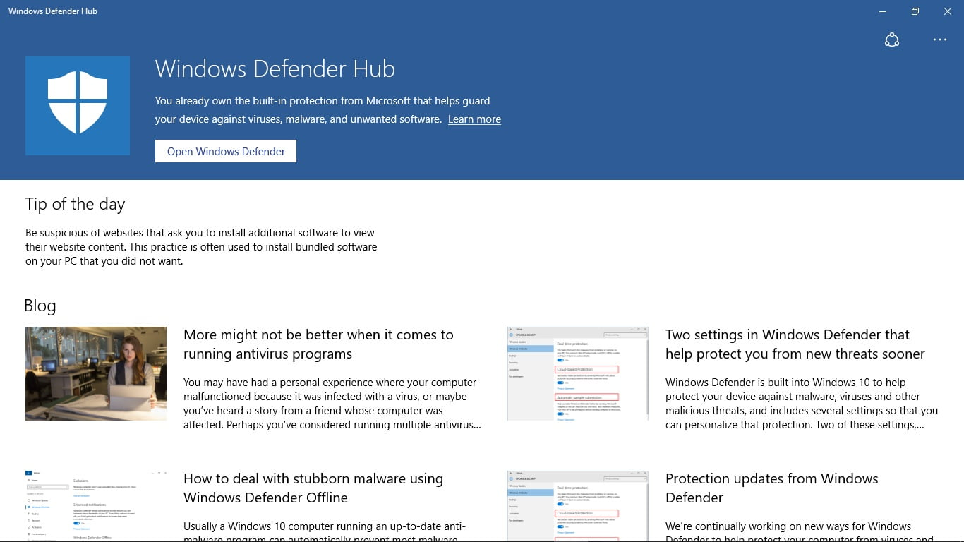 Microsoft releases the Windows Defender Hub on Windows Store