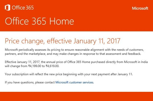 Microsoft hikes price for its Office 365 Home subscription