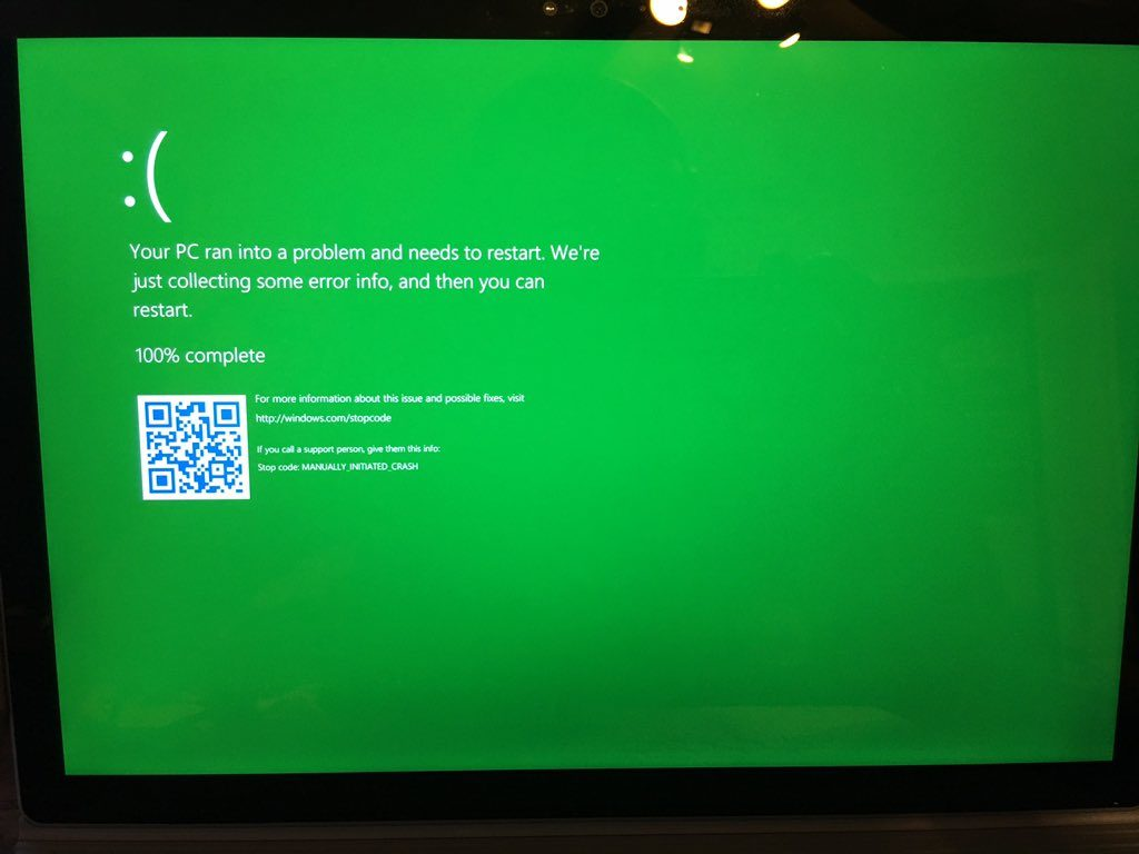 Windows Insider Builds To Get A New Green Screen Of Death