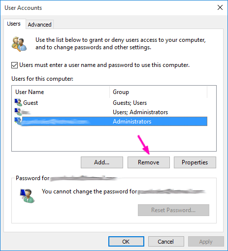 how to delete microsoft account from pc