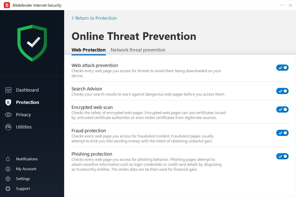 Bitdefender Security Center - Online Threat Prevention